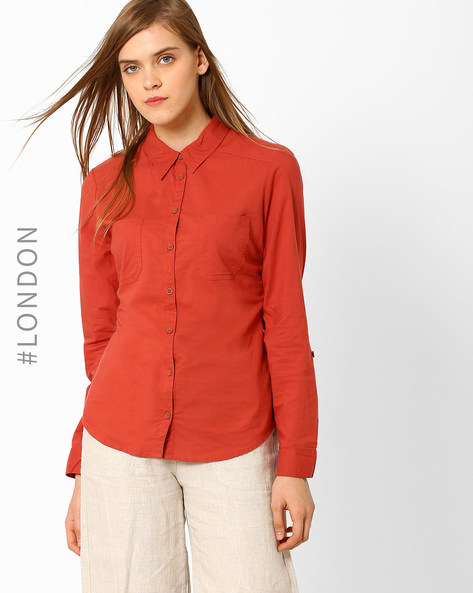Cotton Shirt With Patch Pockets By Marks & Spencer ( Rust )