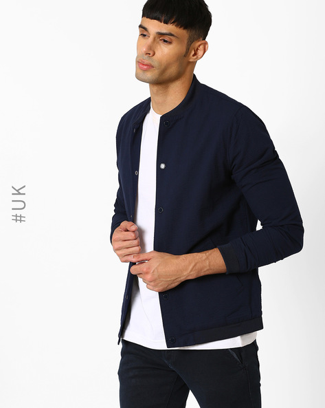 Mandarin Jacket With Self Stripes By Native Youth ( Navy )
