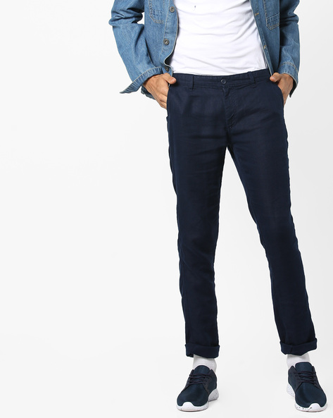 Mid-Rise Flat-Front Chinos By Celio ( Indigo )