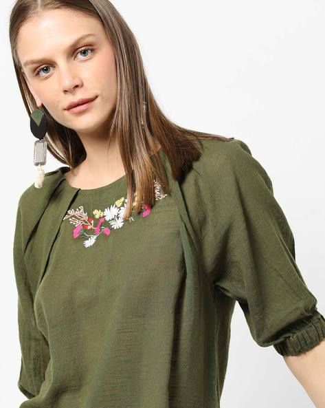Dobby Top With Floral Embroidery By AJIO ( Olive )