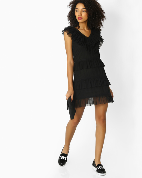 Fit & Flare Dress With Net Ruffles By Rena Love ( Black )