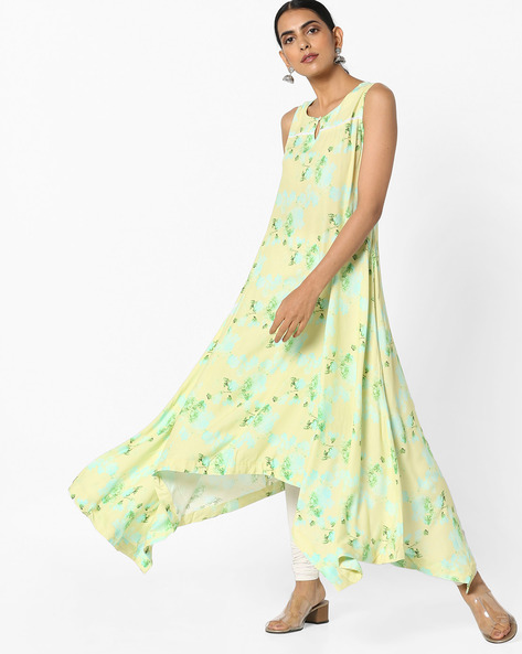Floral Print Kurta With Dipped Hemline By Project Eve IW Casual ( Limegreen )