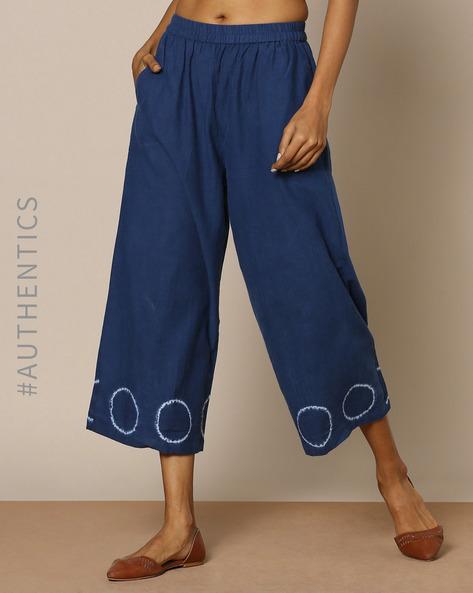 Hand-Dyed Shibori Indigo Cotton Casual Elasticated Pants By ANANDA ( Indigo )