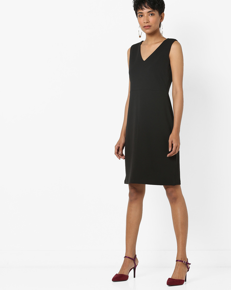 A-line Dress With Lace-Up Back By AJIO ( Black )