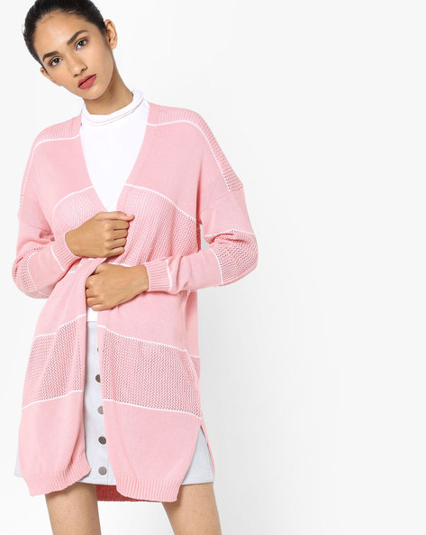 Open-Front Sweatshirt With Woven Panels By Fame Forever By Lifestyle ( Pink )