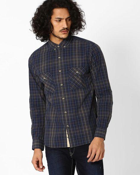 Classic Slim Fit Shirt By AJIO ( Navyblue )