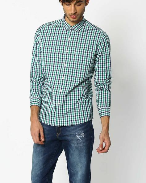 Regular Fit Checked Shirt By NETPLAY ( Green )