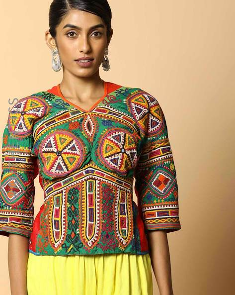 Kutch Embroidered Backless Blouse By Indie Picks ( Multi ) - 460103683001