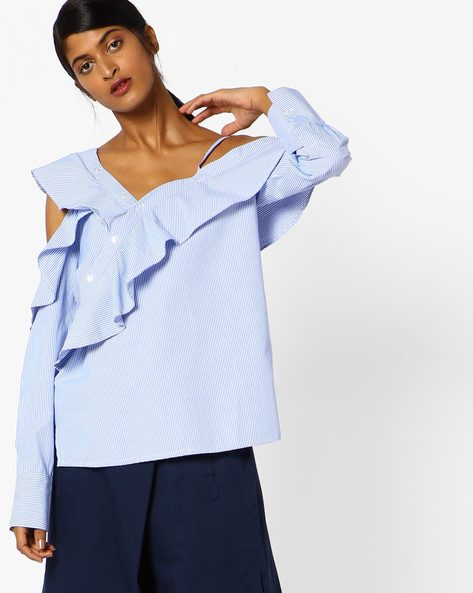 Ruffled Cold-Shoulder Striped Top By NEON ROSE ( Blue )
