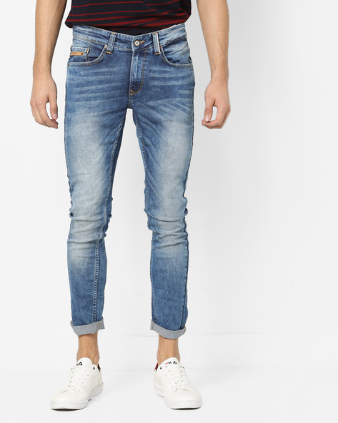 Slim Fit Jeans With Whiskers By SPYKAR ( Midnightblue )