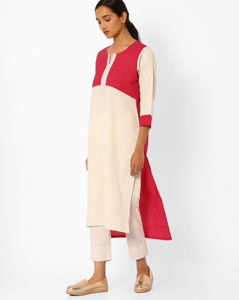 Polka-Dot Print Colourblock Kurta By Bannos Swagger ( Cream )