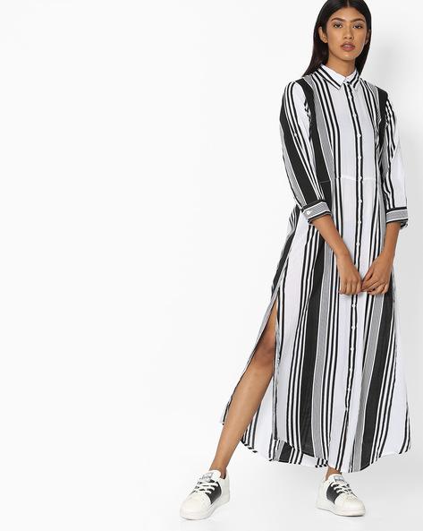 Striped High-Low Shirt Dress By Pink Woman ( Black )