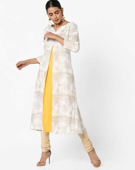 Kurta With Inverted Box Pleat By Project Eve IW Casual ( Yellow )