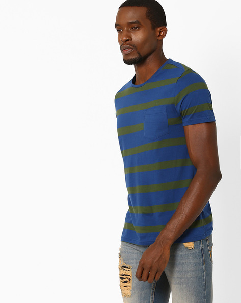 Striped T-shirt With Patch Pocket By AJIO ( Royalblue )