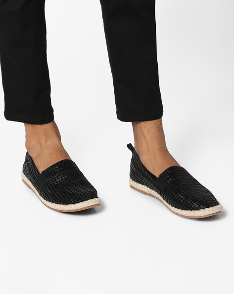 Textured Espadrilles With Gussets By AJIO ( Black )