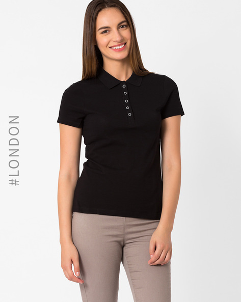 Pique Polo T-shirt By Marks & Spencer ( Black )