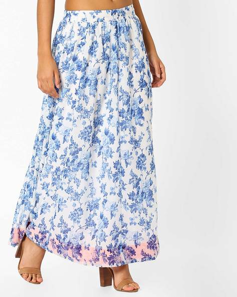 Floral Printed Long Skirt By AJIO ( Indigo )