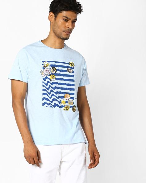 Badge Print Slim Fit T-shirt By AJIO ( Lightblue )