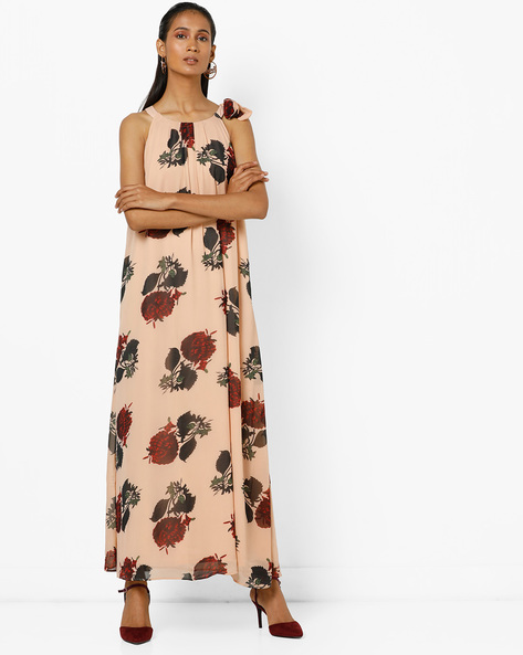 Floral Printed Maxi Dress With Tie-Up By Femella ( Pink )