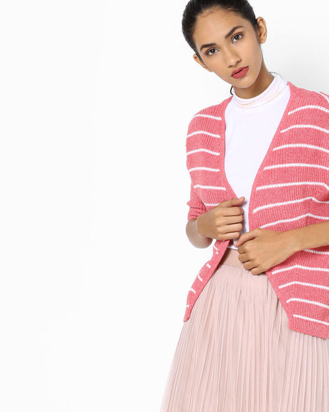 Striped Knitted Sweatshirt By Fame Forever By Lifestyle ( Peach )