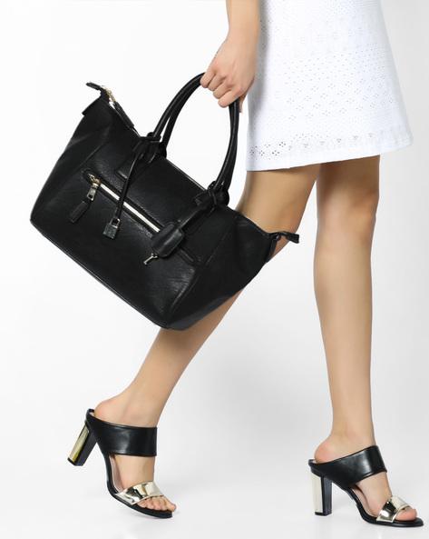 Handbag With Metal Accents By FUR JADEN ( Black )