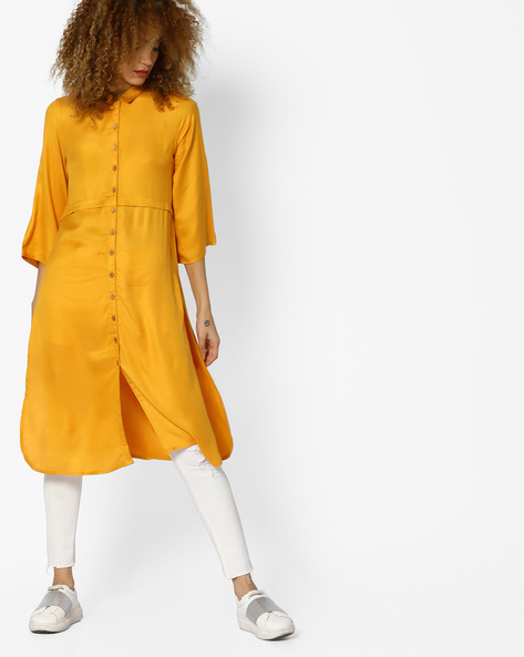 Straight Kurta With Shirt Collar By Arah ( Mustard )