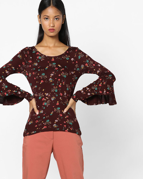 Floral Print Top With Bell Sleeves By CODE By Lifestyle ( Wine )