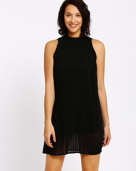 Pleated Shift Dress By Annabelle By Pantaloons ( Black )