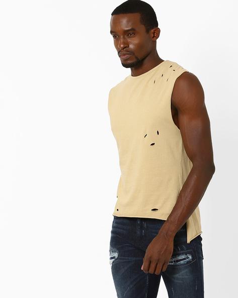 Sleeveless High-Low T-shirt By ADAMO LONDON ( Tan )