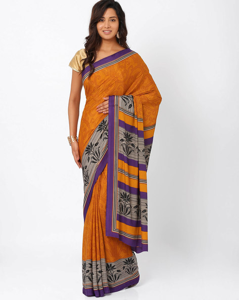 Printed Art Crepe Saree By Majestic Silk ( Yellow ) - 460011156001