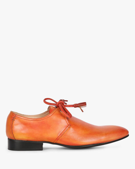N9-Treated Genuine Leather Lace-Up Shoes By AJIO ( Tan )