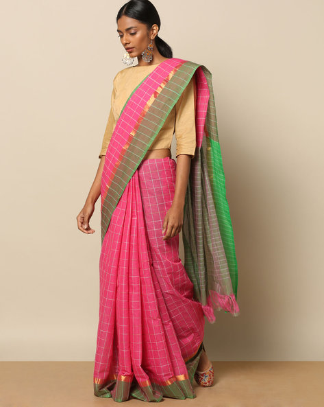 South Cotton Checked Saree With Zari Border By Indie Picks ( Pink )