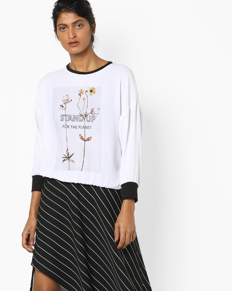 Printed Crew-Neck Top With Contrast Hems By AJIO ( Offwhite )