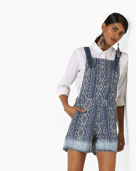 All-Over Print Dungarees By Global Desi ( Blue )