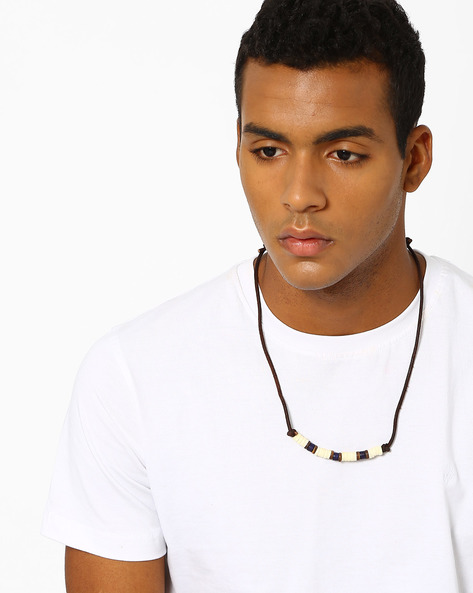 Leather & Beads Neckpiece By UNKNOWN ( Blue )