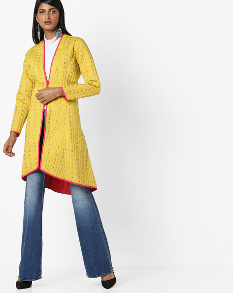 Printed Jacket With Button Loop Closure By Melange By Lifestyle ( Mustard )