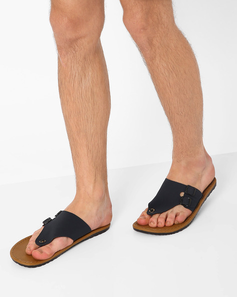 Flip-Flops With Buckle Detail By Funk ( Navy )