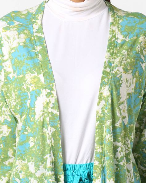 Floral Printed Long Shrug By Project Eve IW Casual ( Teal )