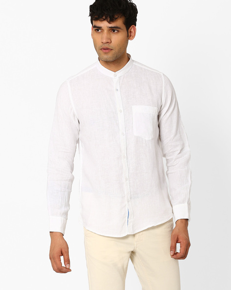 Slim Fit Shirt With Band Collar By CRIMSOUNE CLUB ( White )