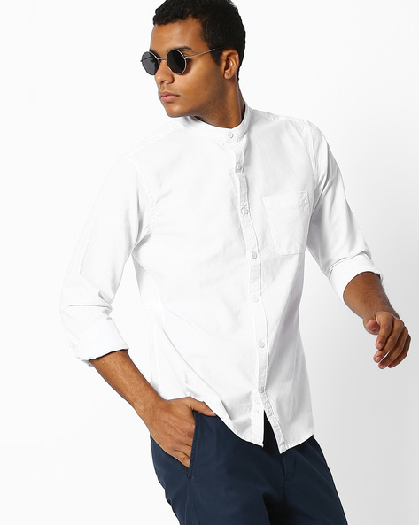 Shirt With Mandarin Collar By Celio ( White )