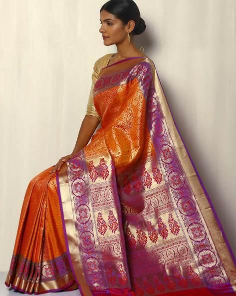 Patola Style Brocade South Silk Saree By Pretty Woman ( Orange )