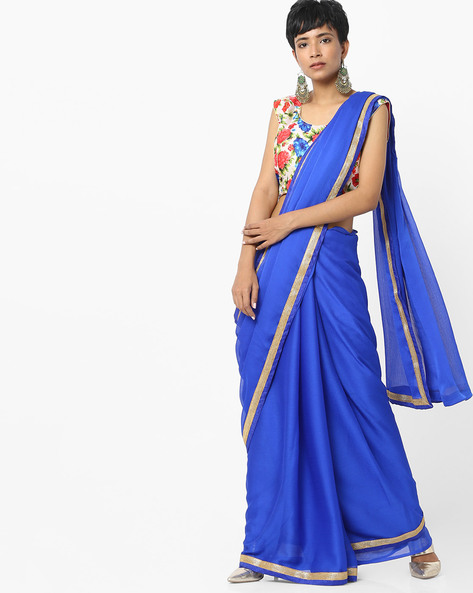 Chiffon Saree With Floral Print Blouse By Majestic Silk ( Blue )