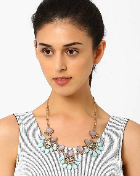 Beaded Necklace By AJIO ( Lightblue )