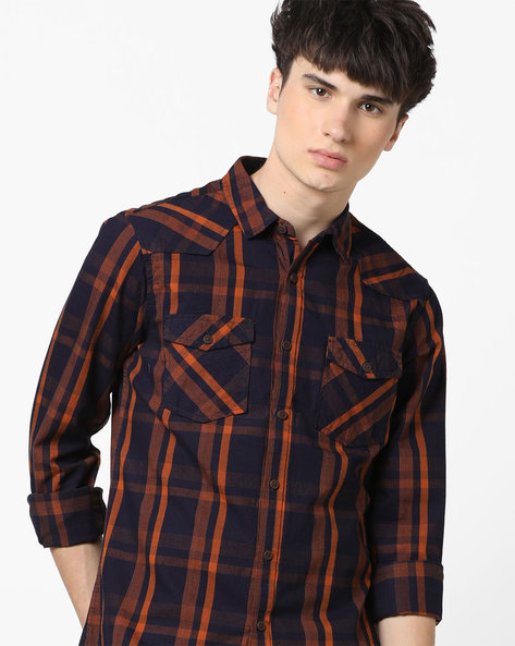 Checked Slim Shirt With Flap Pockets By AJIO ( Teal )