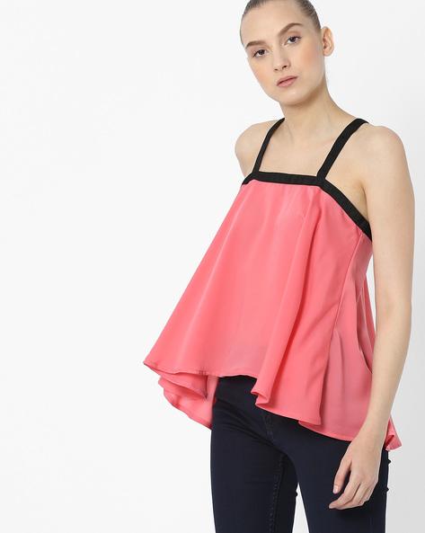 Strappy Swing Top With Asymmetrical Hem By AJIO ( Pink )