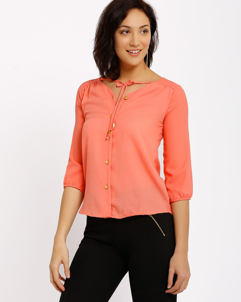 Top With Tie-Ups By Annabelle By Pantaloons ( Pink )