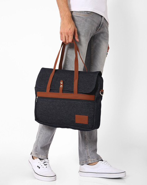 Messenger Bag With Top Handles By FAMOZI ( Denim )