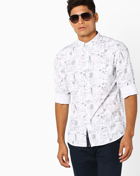 Doodle Print Slim Fit Shirt By AJIO ( Offwhite )