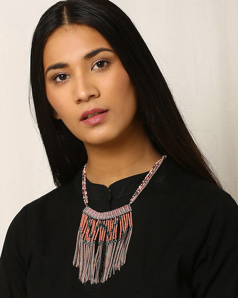 Bohemian Beaded Multistrand Necklace By Indie Picks ( Red )