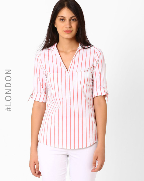 Popover Striped Shirt By Marks & Spencer ( Coral )